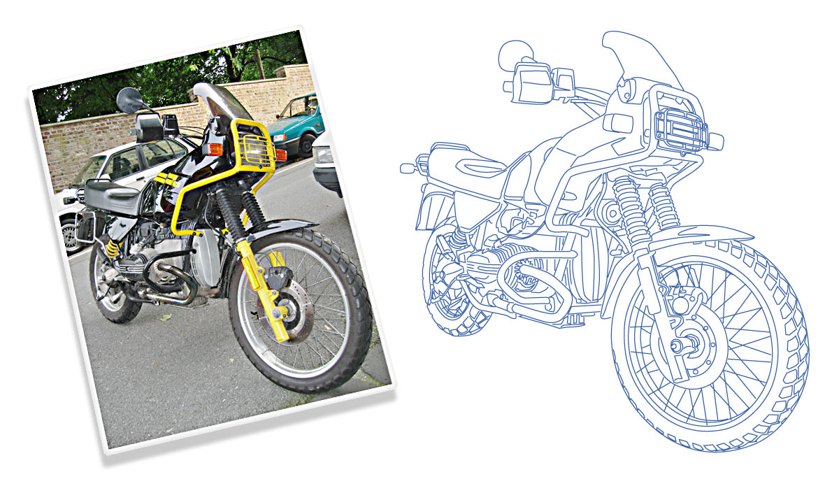 BMW Motorrad Gravur Zeichnung R80GS