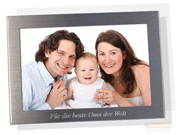 gravierter Fotorahmen mit persönlicher Widmung oder Text im Online Shop diamandi.de schnell und günstig bestellen